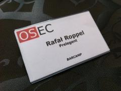 Identyfikator Barcamp - Rafał Roppel